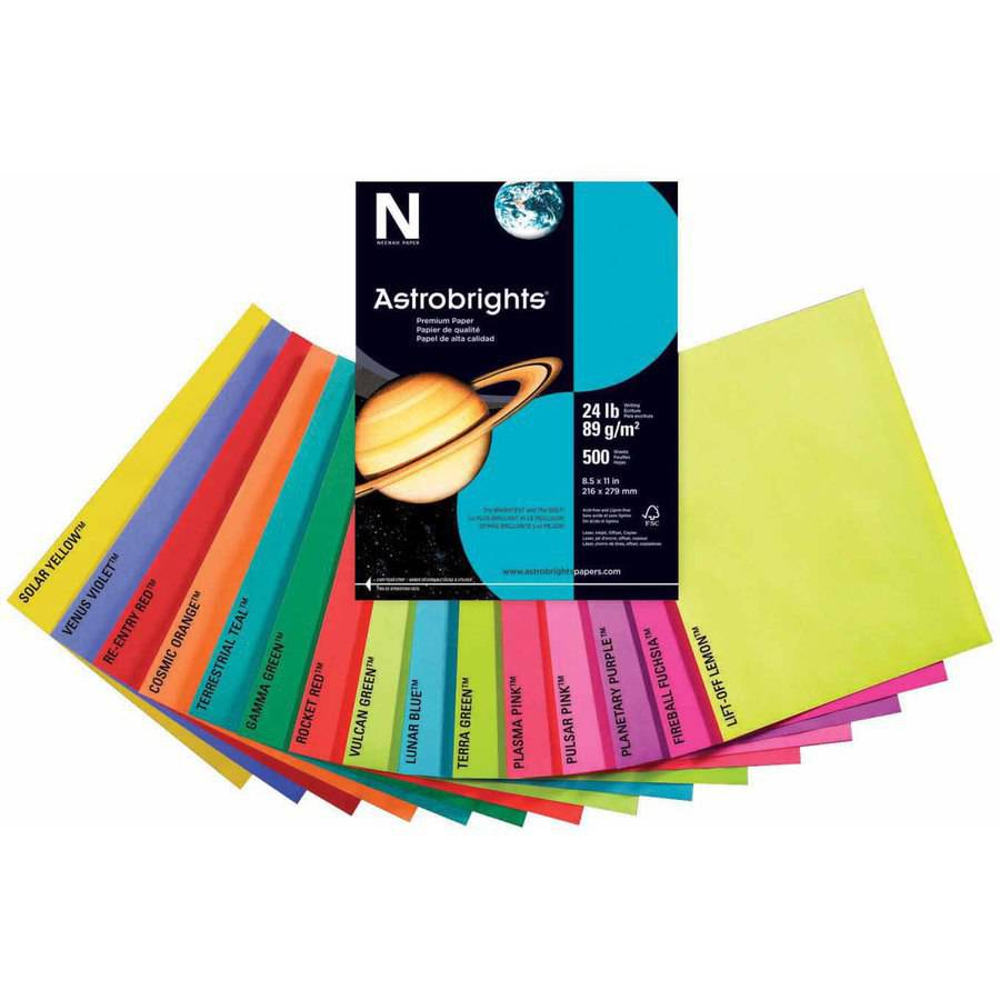 """Astrobrights Acid-Free Copy Paper, 8.5 x 11"""", 24 Pound, Multiple Colors, Pack of 500 Sheets"""