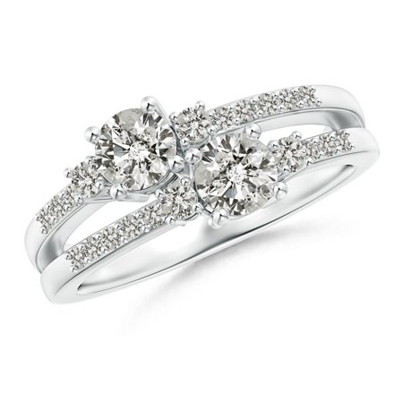 Two Stone Diamond Split Shank Ring with Prong Setting in Platinum (Weight: 0.8ctwt) (Platinum 3 Stone Setting)