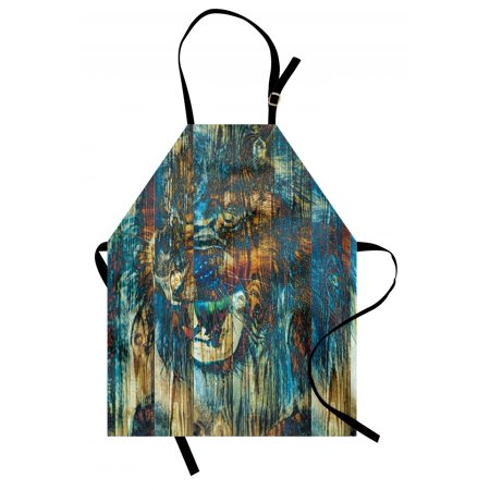 Animal Apron Grunge Rustic Timber with Wild Safari Creature Tiger Lion Modern Display Art, Unisex Kitchen Bib Apron with Adjustable Neck for Cooking Baking Gardening, Turquoise Brown, by (Lions Apron Set)