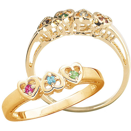 """Personalized Mother s """"I Love You"""" Birthstone Hearts Ring"""