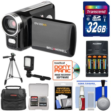 Bell   Howell Dv200hd Hd Video Camera Camcorder With Built In Video Light With 32Gb Card   Batteries   Charger   Led Light   Tripod   Kit
