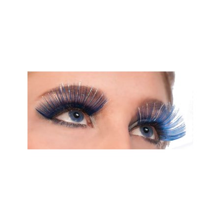 Women's  Blue and Silver Tinsel Fantasy Costume Eyelashes - Jewish Costume Ideas