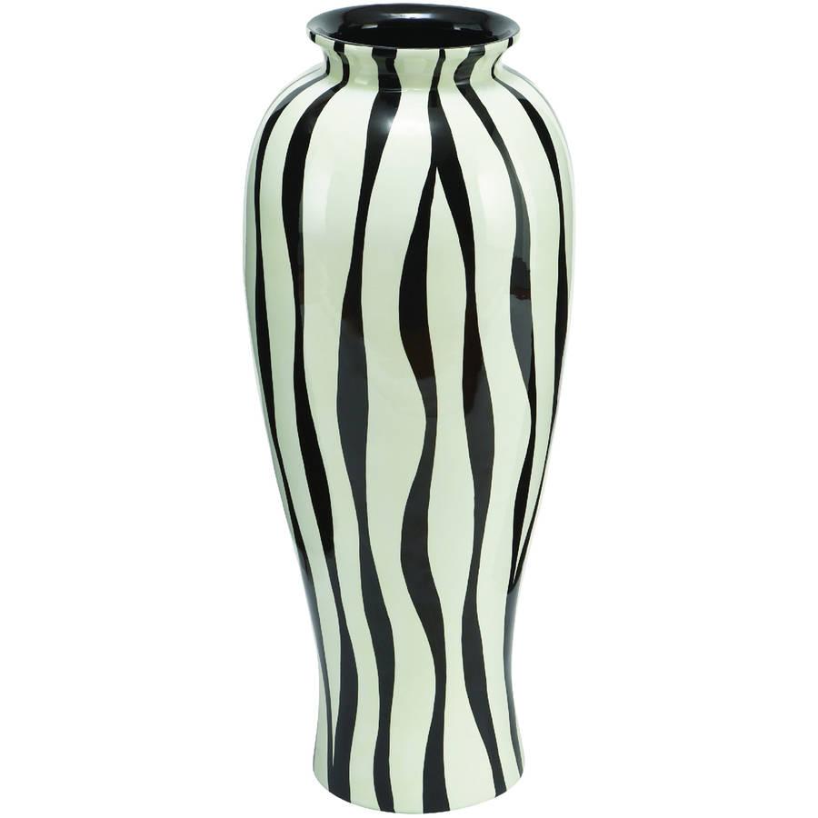 Decmode Polystone Laquered Zebra Vase, Multi Color