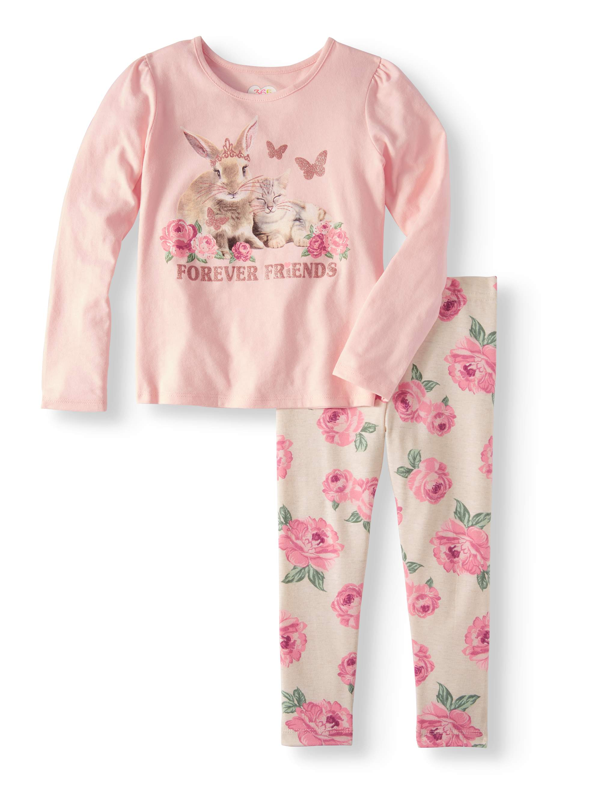 Girls' Long Sleeve Graphic Tee & All Over Print Leggings, 2pc Outfit Set