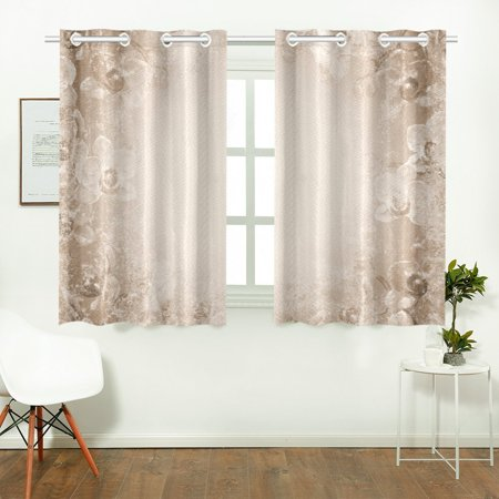 yusdecor gray beige window curtain kitchen curtains window treatments 26x39 inch,set of 2