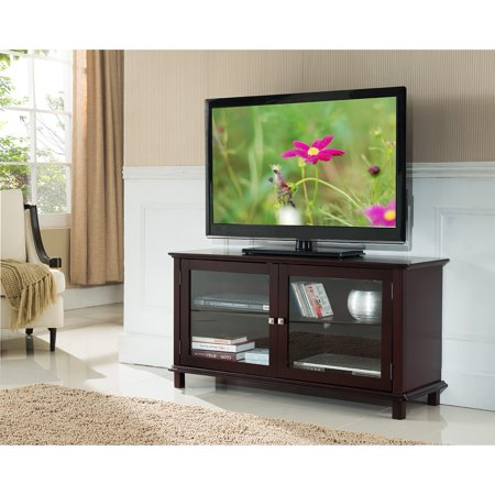 K and B Furniture Co Inc K&B Cherry Wood 2-door TV Stand