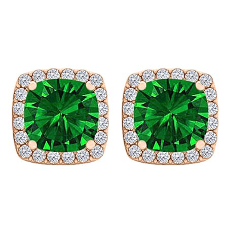 2eb92ef95 CZ Emerald Square Stud Earrings 14K Rose Gold Vermeil - image 1 of 3 ...
