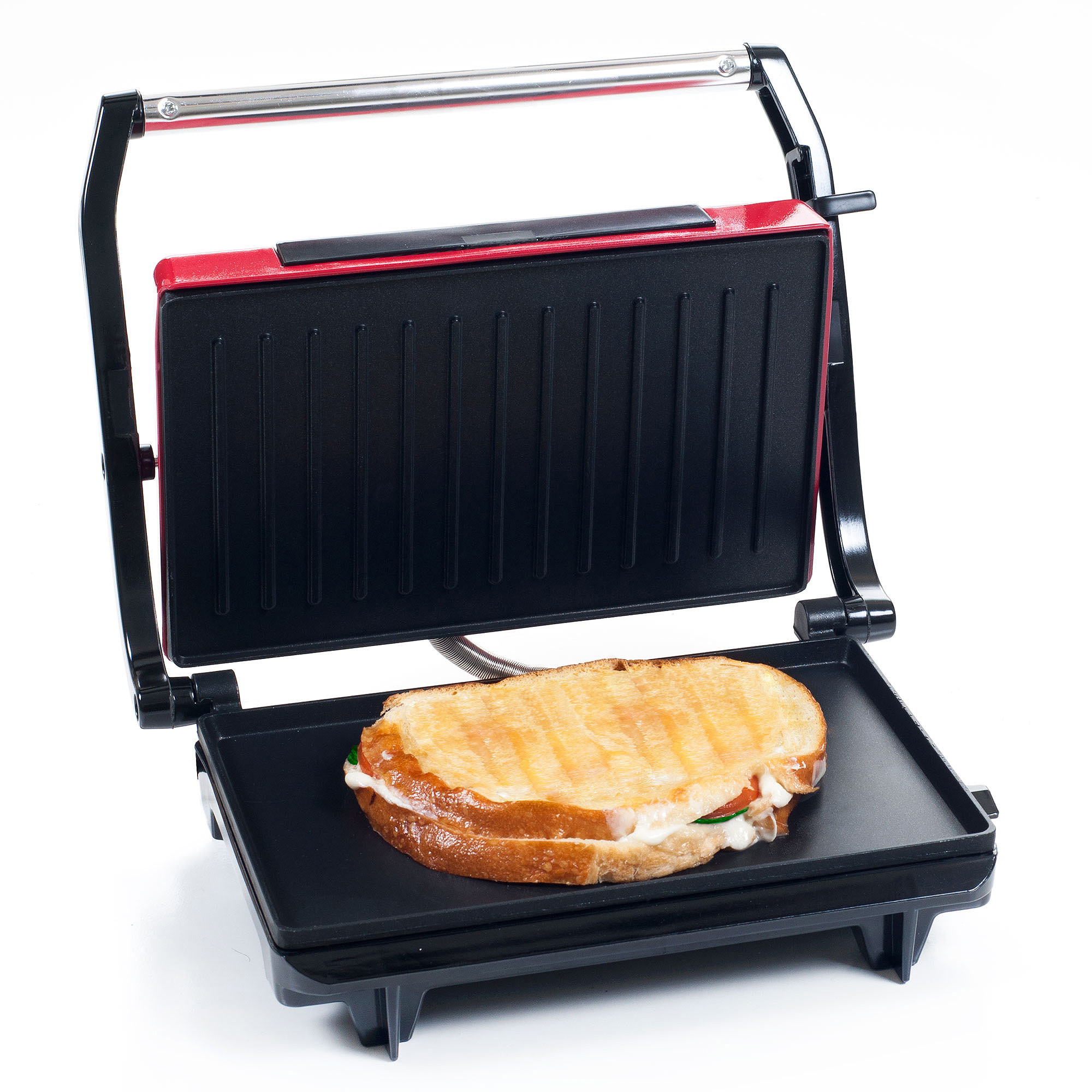 Chef Buddy Non-Stick Grill and Panini Press, Red
