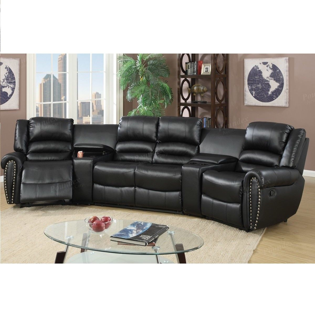 Black Bonded Leather Reclining Sofa Set Home Theater Sectional Sofa Set with Two Center Consoles