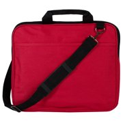 """Alta - Multi-Compartment 15"""" Laptop Computer Carrying Bag With Over Shoulder Strap Included - Black/Red"""
