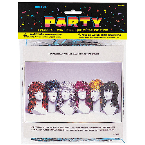 Punk Rock Foil Tinsel Wig, Assorted Color