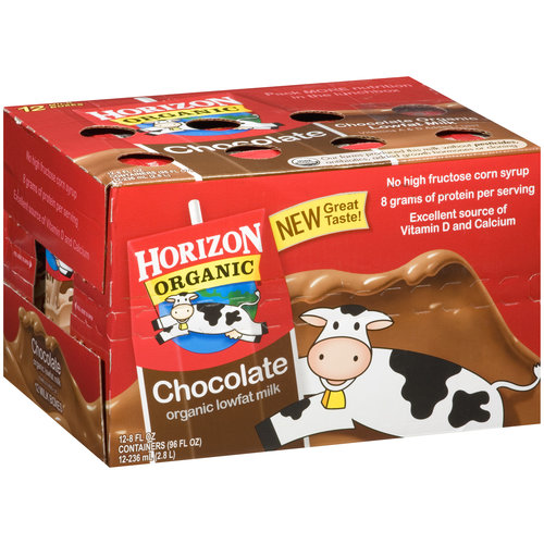 Horizon Organic Chocolate Organic Lowfat Milk, 8 fl oz, 12 ct