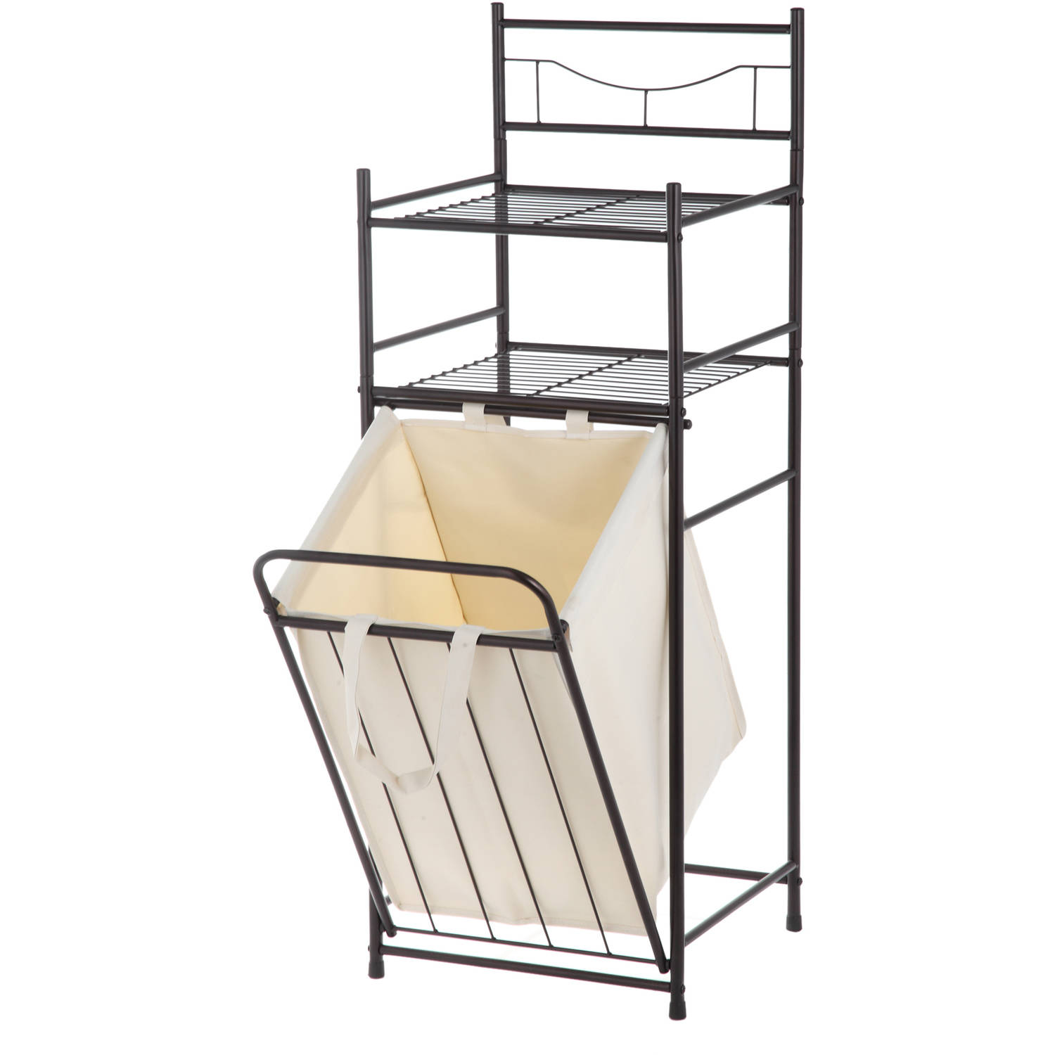 Bathroom Tower Shelf Towel Storage Organizer Laundry Basket Shelves ...