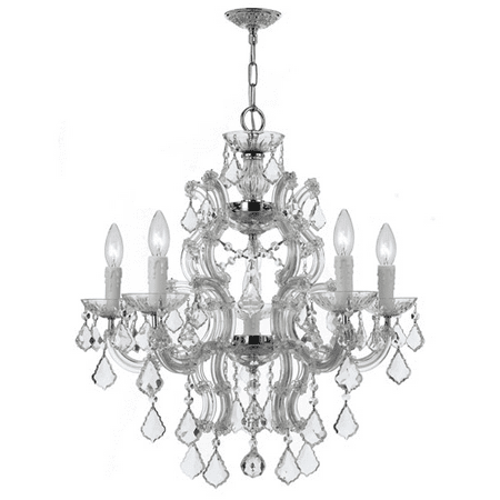 Polished Chrome Icon - Chandeliers 6 Light With Polished Chrome Clear Hand Cut Clear Crystal Wrought Iron 23 inch 360 Watts - World of Lighting