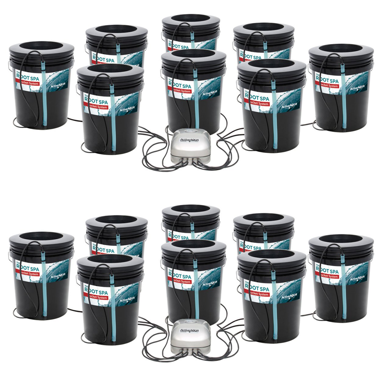 Active Aqua Root Spa 5-Gallon 8-Bucket Deep Water Culture System (2 Pack)
