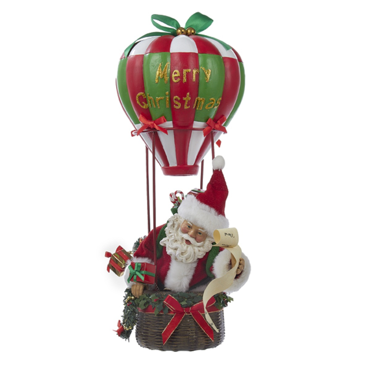 KSA Fabriché Musical Santa in Hot Air Balloon Christmas T...