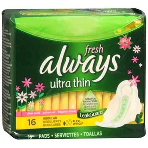 Always Fresh Ultra Thin Pads Regular Flexi-Wings Clean Fresh Scent 16 Each (Pack of 6)