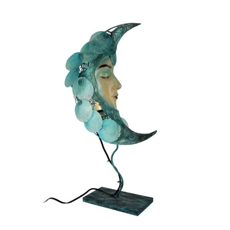 Natural Shell and Metal Art Blue Moon Celestial Accent Lamp