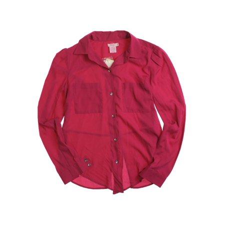 Fourty's Womens Solid Button Up Shirt 61 S - Juniors - image 1 de 1