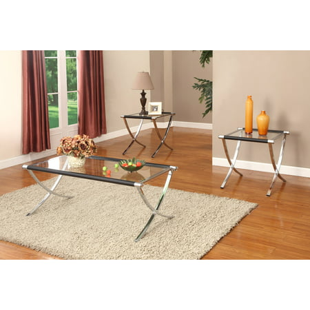 3 Piece Chrome & Black Metal & Tempered Glass Top Occasional Cocktail Coffee & 2 End Tables