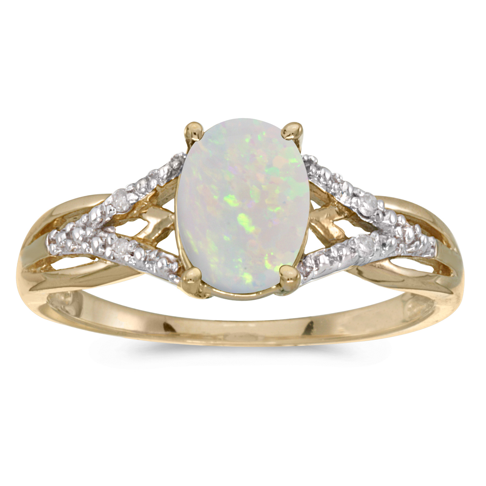 10k Yellow Gold Oval Opal And Diamond Ring by