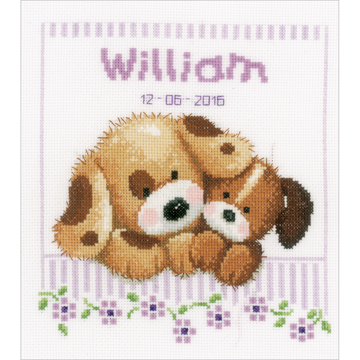 """Vervaco Counted Cross Stitch Kit 8""""X8.75""""-Cuddling Dogs Record On Aida (14 Count)"""