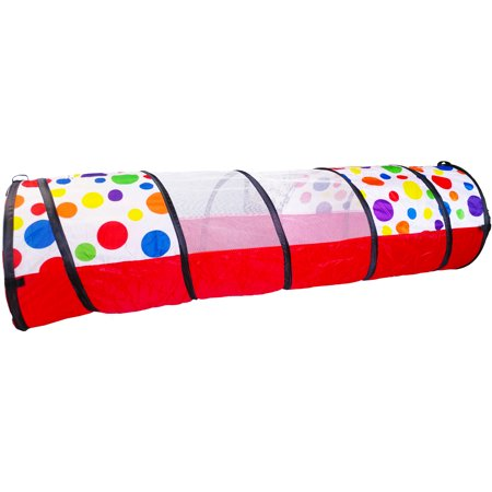EWONDERWORLD 6-FT Polka Dot Kids Toy Pop-Up Crawling Play Tunnel with Carrying Bag