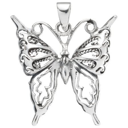 Butterfly With Pointed Wings Sterling Silver Pendant