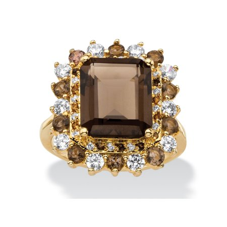 9.62 TCW Emerald-Cut Genuine Smoky Topaz and CZ Accent  Halo Cocktail Ring 14k Gold-Plated (Smokey Topaz Ring)