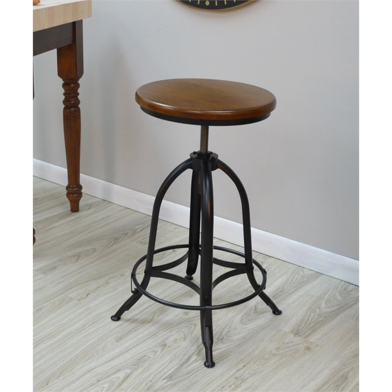Carolina Classics Jovani Adjustable Stool in Chestnut and Black
