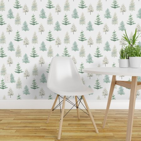 Wallpaper Roll Winter Forest Trees Snow Watercolor Woods Woodland 24in