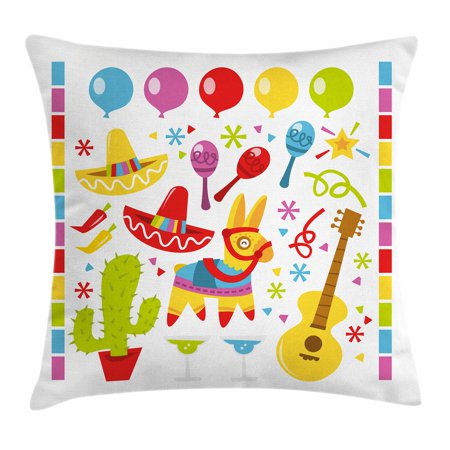 Fiesta Throw Pillow Cushion Cover, Mexican Party Pattern Cactus Sombrero Musical Items and a Pinata Ethnic Inspirations, Decorative Square Accent Pillow Case, 18 X 18 Inches, Multicolor, by Ambesonne