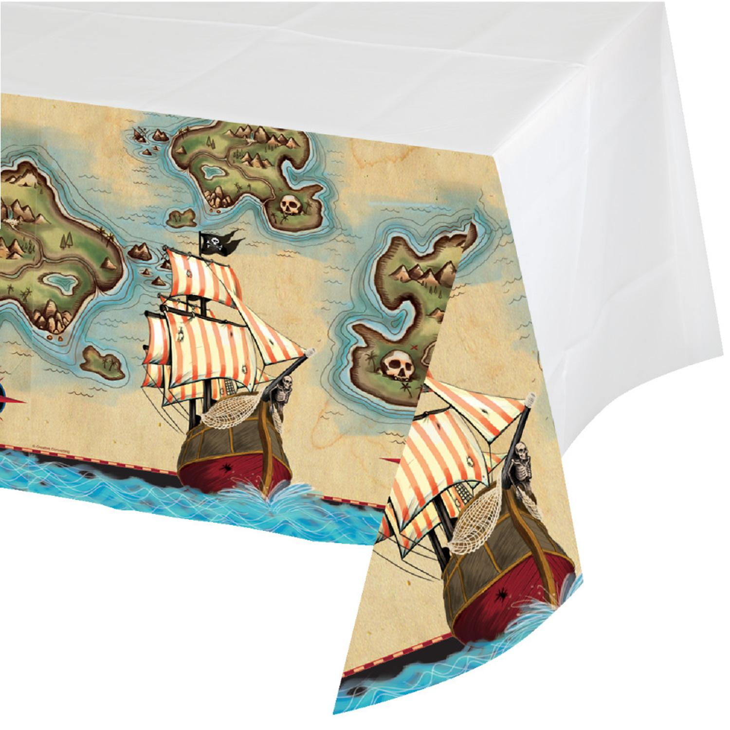 """Pack of 6 Pirate's Map Disposable Rectangle Plastic Banquet Party Table Covers 102"""""""