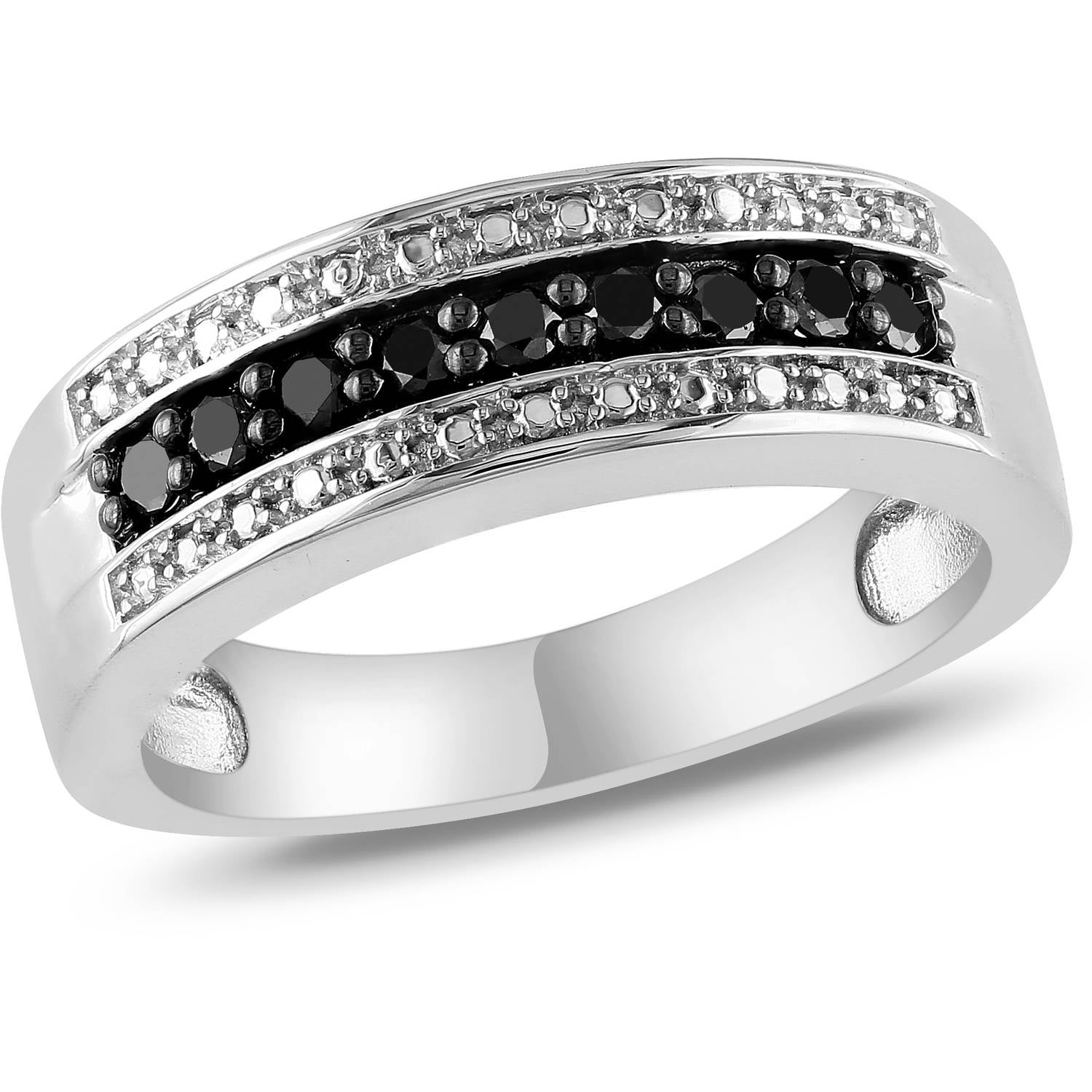 1 4 Carat T W Black Diamond Sterling Silver Semi Eternity Ring