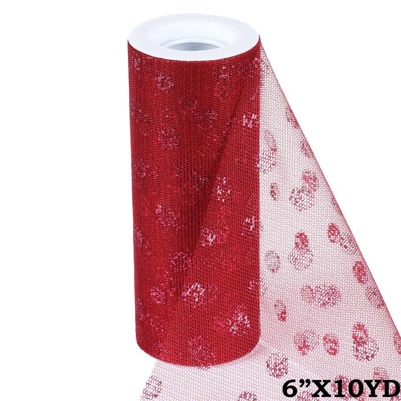 6 inch x 10 yards Glittered Polka Dot Tulle - Burgundy