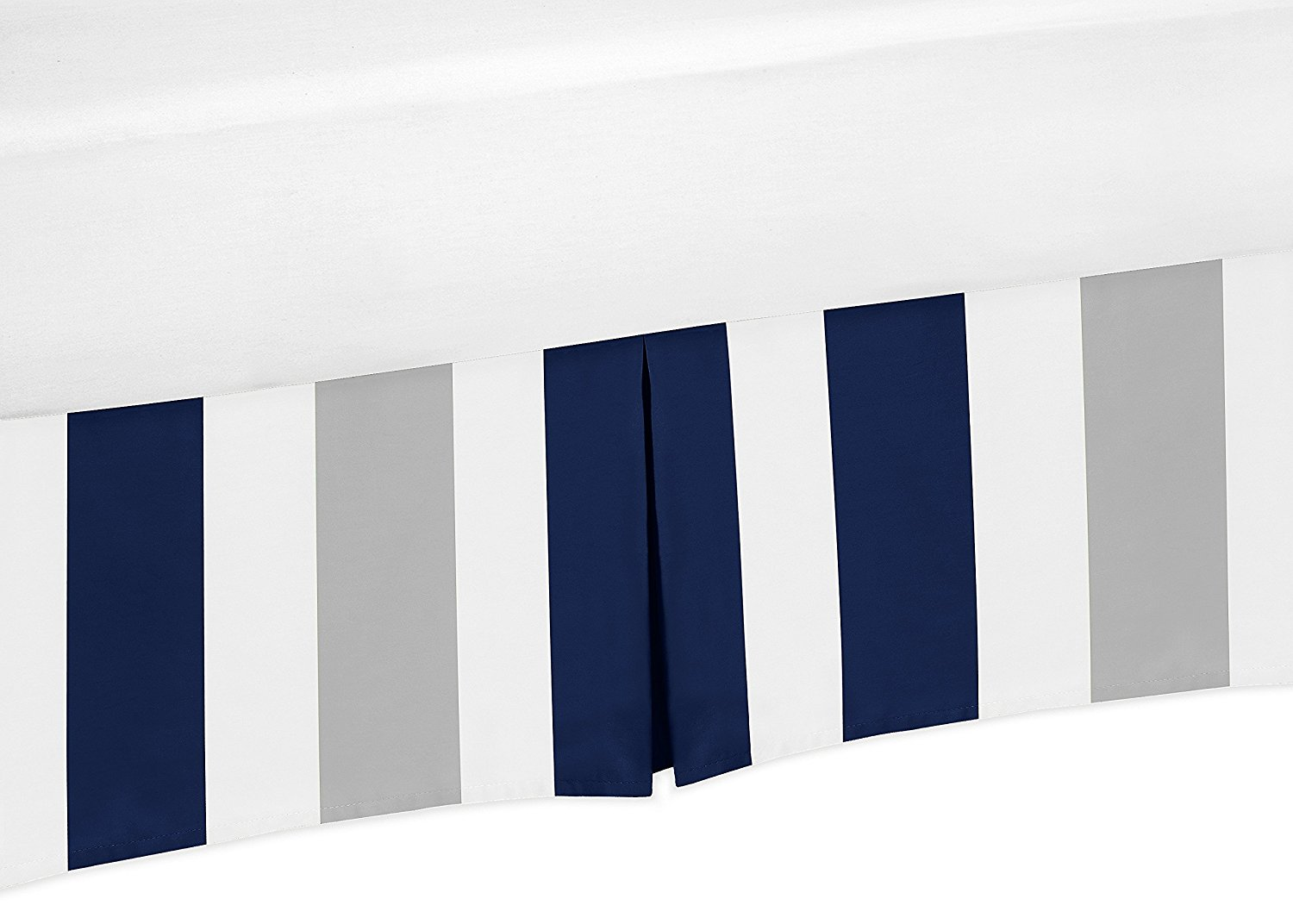 Navy Blue, Grey and White Crib Bedskirt Dust Ruffle for Boys Stripe Collection Baby Bedding Sets by Sweet Jojo Designs