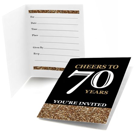 Adult 70th Birthday - Gold - Fill In Birthday Party Invitations (8 count) - Cheap 70th Birthday Invitations