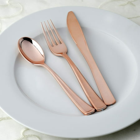 Wallace Rose Dinner Knife - BalsaCircle Metallic Rose Gold 30 pcs Spoons, Forks, and Knives Disposable Silverware - Wedding Reception Party Catering Tableware