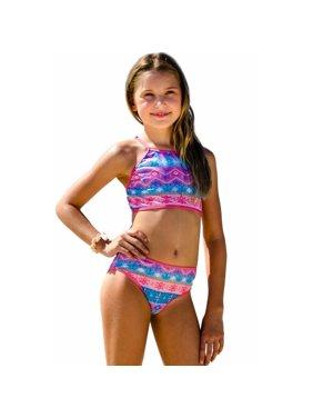 Sun Emporium Girls Coral Pink Desert Flower Print Halter Top Bikini Set