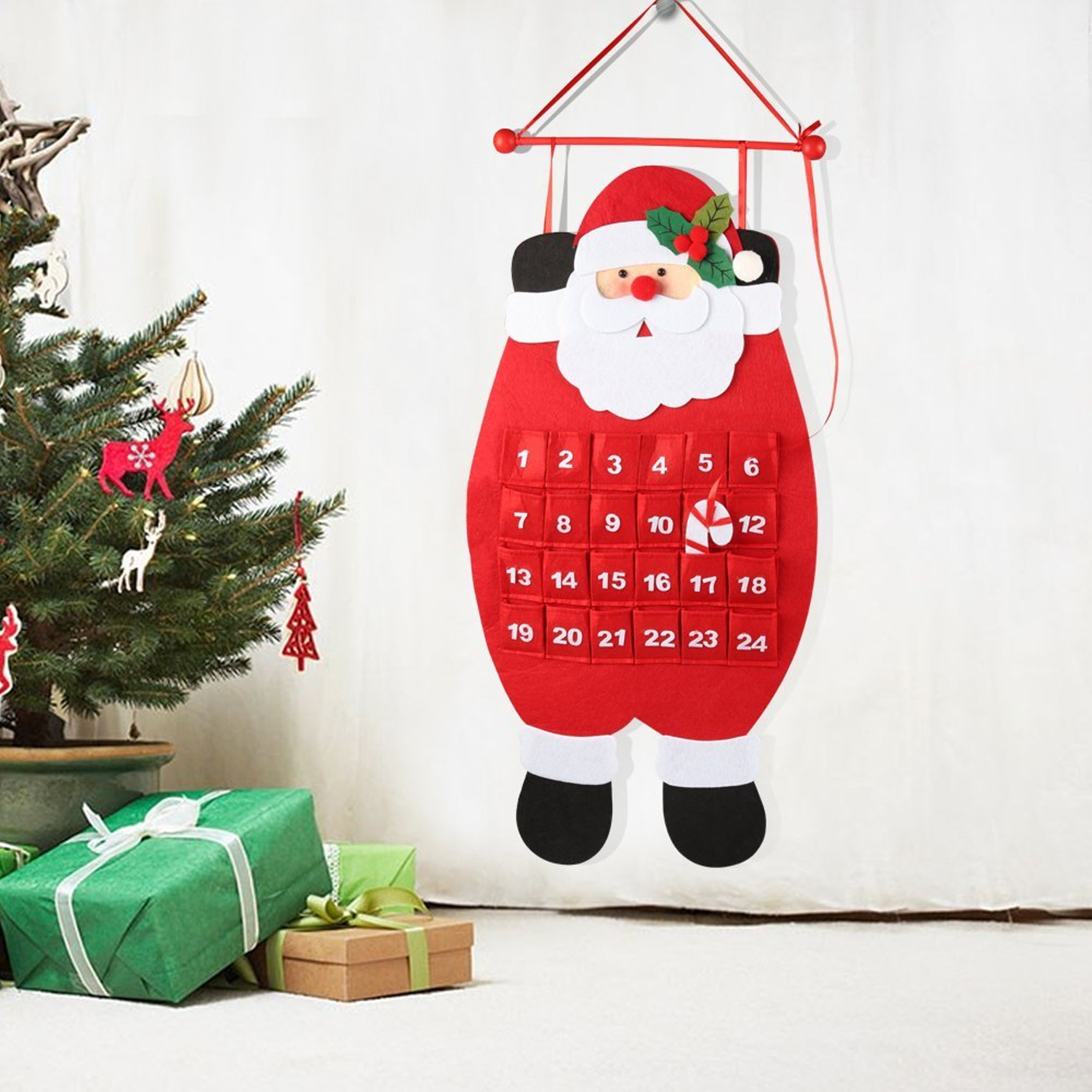 Countdown to Christmas Advent Calendar 3D Santa Felt Advent Calendar
