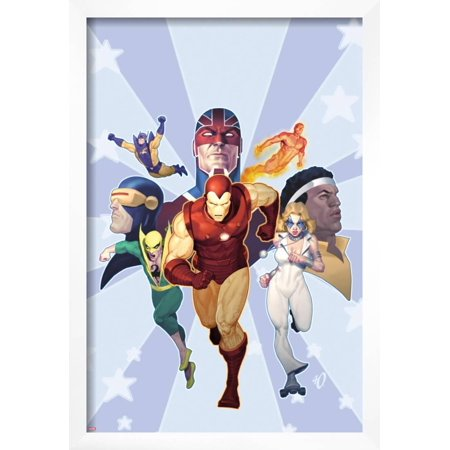 Iron Age: Omega No.1 Cover: Iron Man, Iron Fist, Dazzler, Cyclops, Captain Britain and Others Framed Poster Wall Art By Ariel Olivetti British Bronze Wall