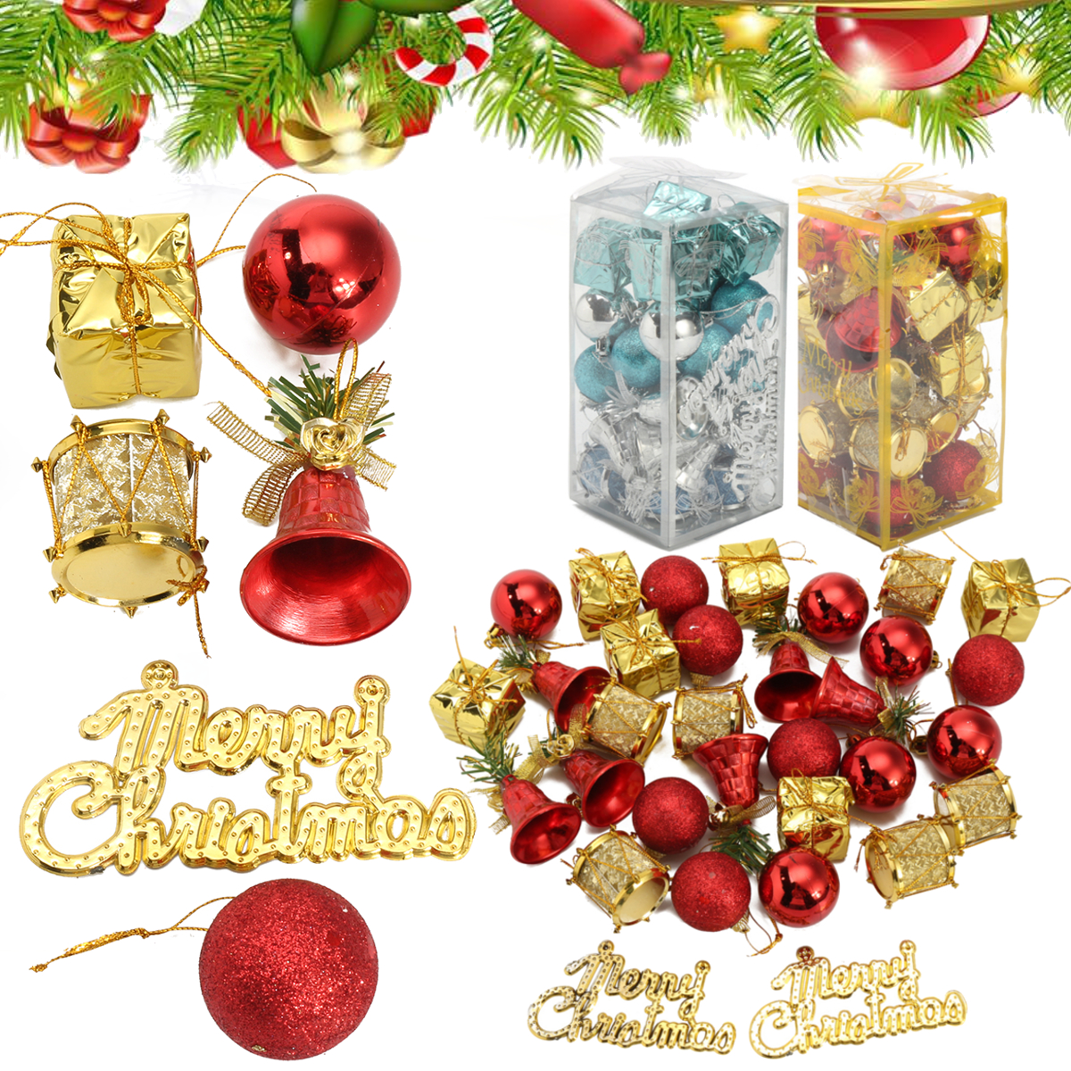 32PCS Christmas Ornaments Balls Drums Bells Baubles Christmas Tree Pendant Decor
