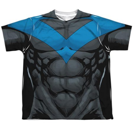 Batman Nightwing Blue Uniform-S by S Youth Poly Crew Sublimation T-Shirt, White - Large - image 1 of 1