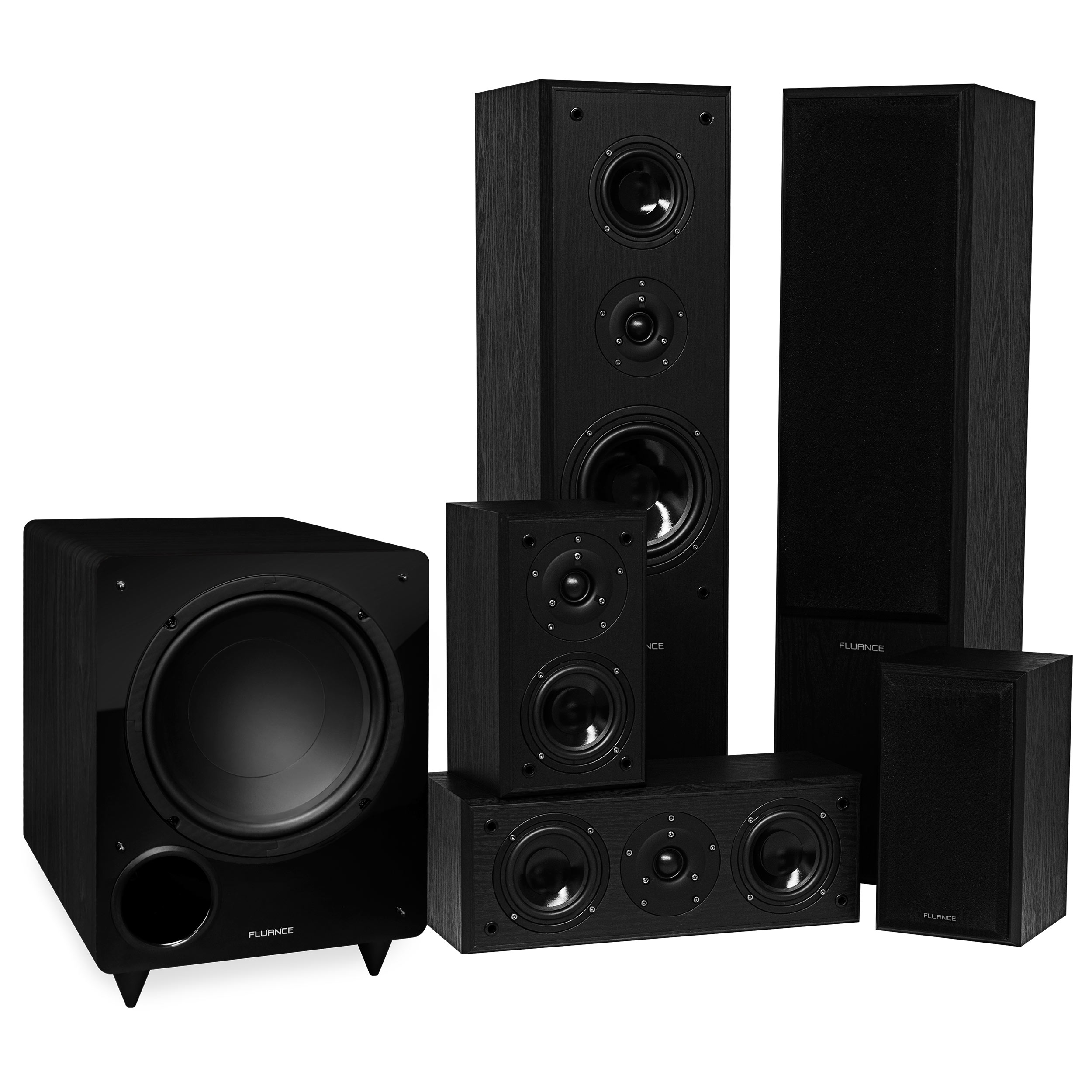 Fluance Classic Series Surround Sound Home Theater 5.1 Channel Speaker System including Three-way Floorstanding Towers, Center, Rear Speakers, and DB10 Subwoofer - Black Ash (AV51BR)