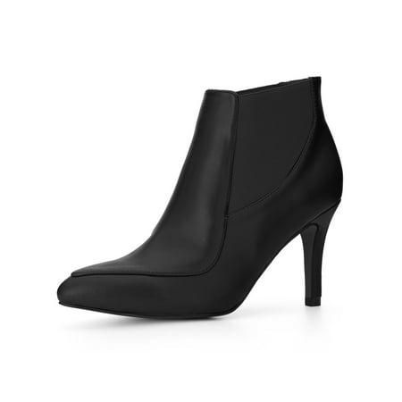 Unique Bargains Women's Stiletto High Heel Point Toe Chelsea Booties