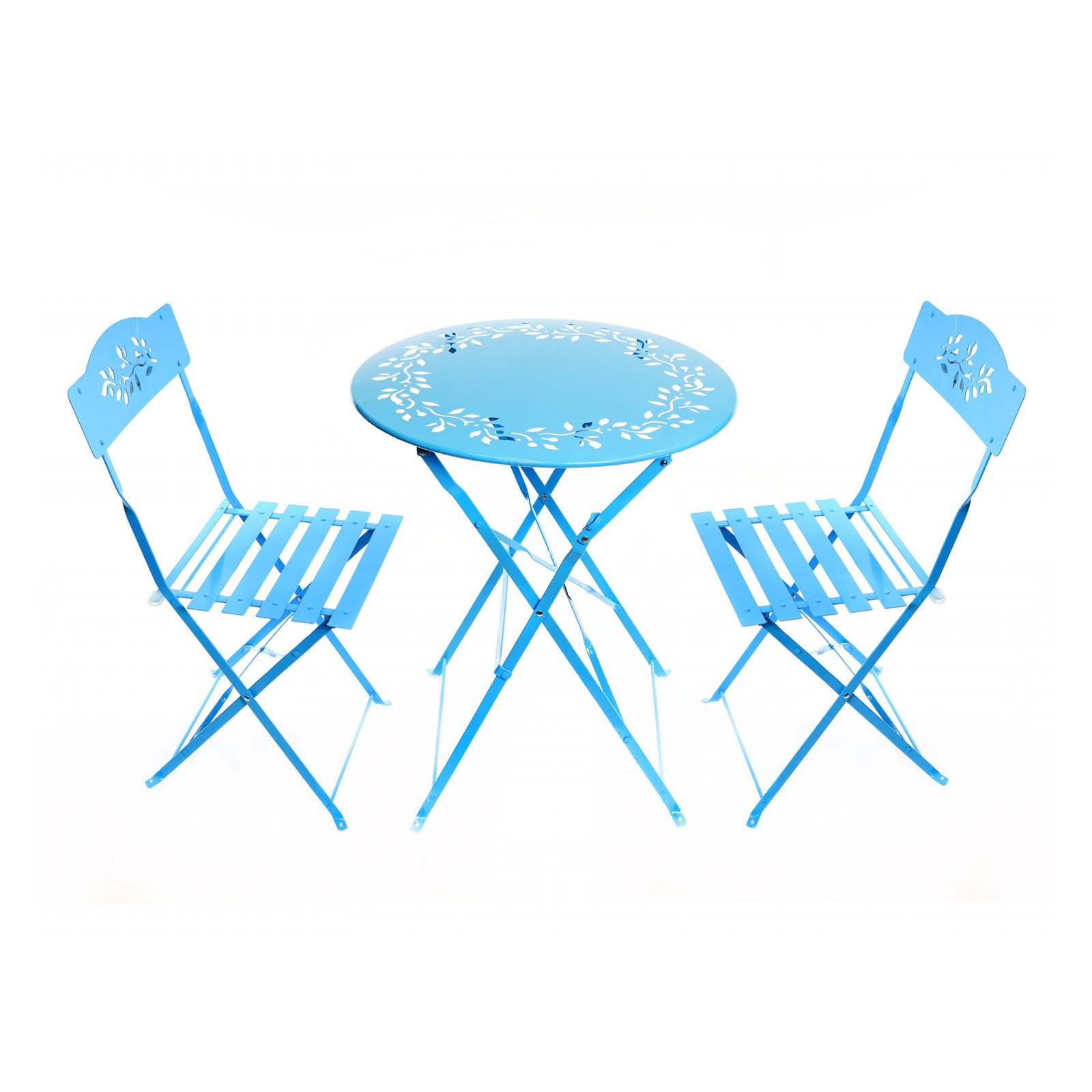 Alpine Metal 3-Piece Floral Bistro Set, 1 Table and 2 Chairs, Blue, 28 Inch Tall