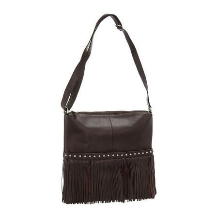 2aa2301834 ILI - ILI Fringe Messenger Leather Studded Crossbody Bag - Walmart.com