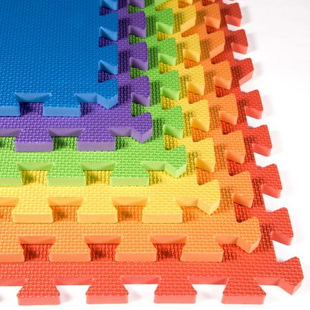 FlooringInc Eco Soft+ 2'x2' EVA Foam Tiles - (50 Graphite) Soft Flooring Play Mat, Gym