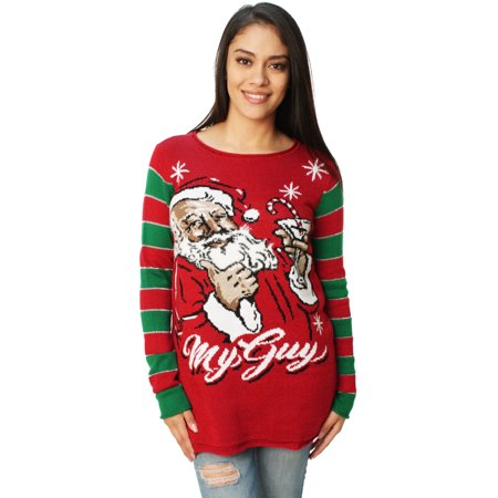 Ugly Christmas Sweater Women's Santa's Martini My Guy Sweater](Ugly Christmas Sweater Women)
