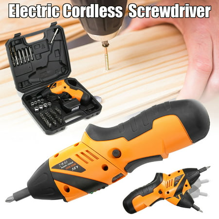 45in1 4.8V Electric Screwdriver Cordless Screw Gun Drill Kit P ower Tool with LED Light & + Carry Case Cordless Drywall Screwdriver Kit